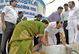 Inspection: Health Minister M.R.K. Paneerselvam checking a sump from which drinking water will be supplied to the World Classical Tamil Conference venue, in Coimbatore on Thursday. Rural Industries Minister Pongalur N. Palanisamy (right), Coimbatore Collector P. Umanath (second right) and Coimbatore Corporation Commissioner Anshul Mishra (left) are in the picture